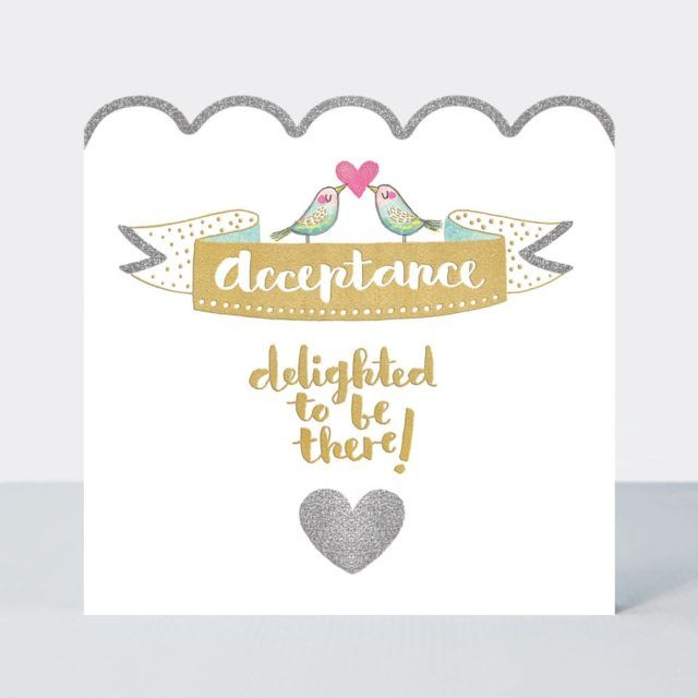 RSVP Decline & Regret Cards - DELIGHTED To Be THERE - Wedding ACCEPTANCE Ca
