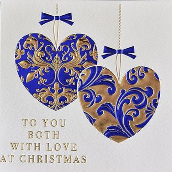 Christmas Cards For Couples - To YOU BOTH Of  With LOVE At CHRISTMAS - Beautiful BLUE & Gold Foil CHRISTMAS Card - COUPLES Christmas CARDS