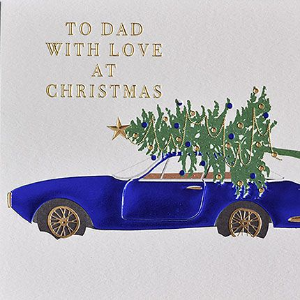 To Dad With Love Christmas Card - CHRISTMAS Cards For DAD - STUNNING Blue F