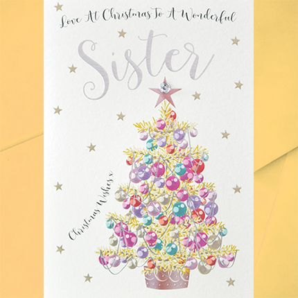 To A Wonderful Sister Christmas Card - BEAUTIFUL Embellished CHRISTMAS Card