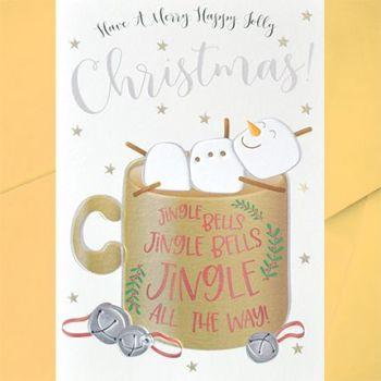 Marshmallow Christmas Snowman Christmas Card - JINGLE Bells All The WAY - Jolly SNOWMAN Christmas CARD - Christmas CARD - Fun CHRISTMAS Cards