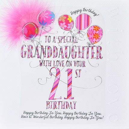 21st Birthday Card For Special Granddaughter - LUXURY Boxed 21st BIRTHDAY C
