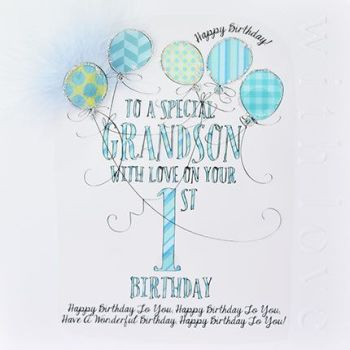 1st Birthday Card For Special Grandson - LUXURY Boxed 1st BIRTHDAY Card - WITH Love On YOUR 1st BIRTHDAY - 1st Birthday CARD for GRANDSON