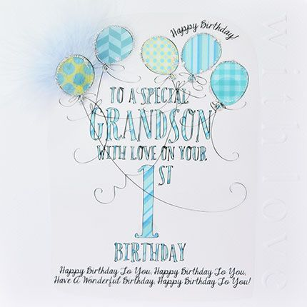 1st Birthday Card For Special Grandson - LUXURY Boxed 1st BIRTHDAY Card - W