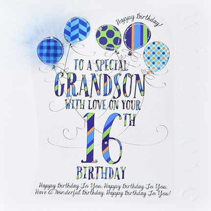 16th Birthday Card For Special Grandson - LUXURY Boxed 16th BIRTHDAY Card -