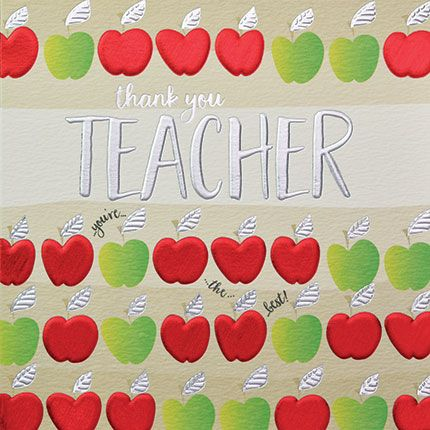 Teacher Thank You Cards - THANK You TEACHER - Apple THANK You TEACHER Card