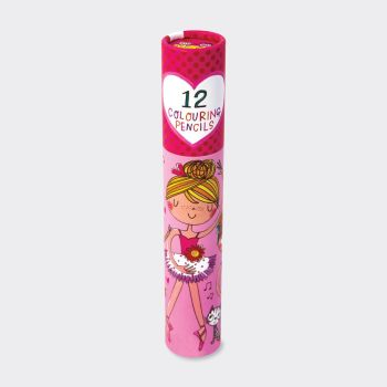 Ballerina Colouring Pencils In A Tube - 12 GOLD FOIL Branded FULL-SIZED Colouring Pencils - KIDS Colouring PENCILS - Coloring PENCILS - Pack OF 12
