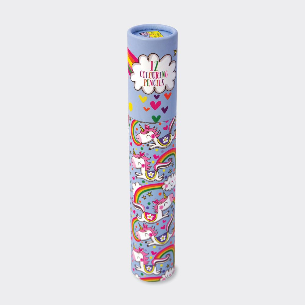 Unicorn Colouring Pencils In A Tube - 12 GOLD FOIL Branded FULL-SIZED Colou