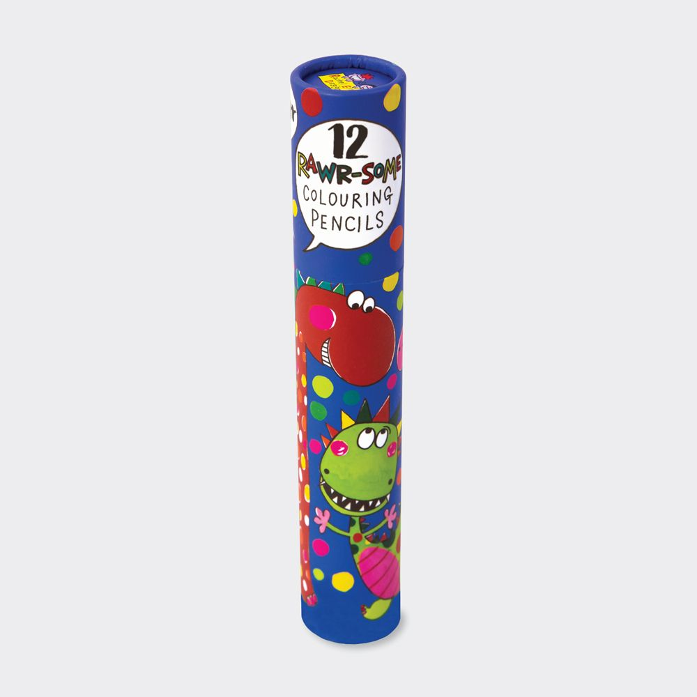 Dinosaur Colouring Pencils In A Tube - 12 GOLD FOIL Branded FULL-SIZED Colo
