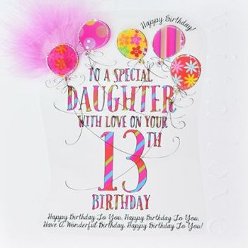 13th Birthday Card For Special Daughter - LUXURY Boxed 13th BIRTHDAY Card - WITH Love On YOUR 13th BIRTHDAY - 13th Birthday CARD for DAUGHTER