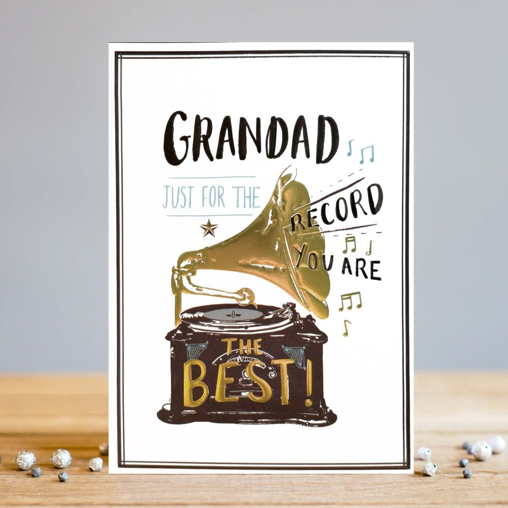 Grandad Birthday Cards - JUST For The RECORD You Are The BEST - Gramophone
