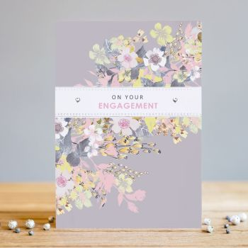 Engagement Cards - ON Your ENGAGEMENT - Celebration CARDS - PRETTY Embellished ENGAGEMENT Card - FLORAL Engagement Card