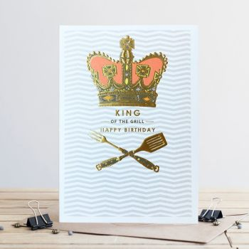 Bbq Birthday Card - KING Of The GRILL - Happy BIRTHDAY Cards - Bbq BIRTHDAY Cards - BARBECUE Birthday Cards For BROTHER - Husband - BOYFRIEND - Friend