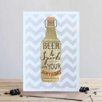 Beer Birthday Card - BEER & Sports On YOUR Birthday - Drinking BIRTHDAY Cards - DRINKING Card For BROTHER - Son - BOYFRIEND - Friend - SON-In-LAW
