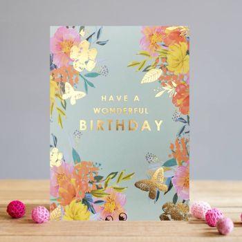 Floral Birthday Cards - Have A Wonderful BIRTHDAY - FLORAL Greeting CARDS - Birthday CARDS For MUM - Gran - NAN - Aunty - FRIEND