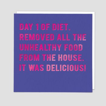 Diet Birthday Cards - DAY 1 Of DIET - Funny BIRTHDAY Cards - FUNNY Diet BIRTHDAY Cards For FRIEND - Sister - MUM - Cousin