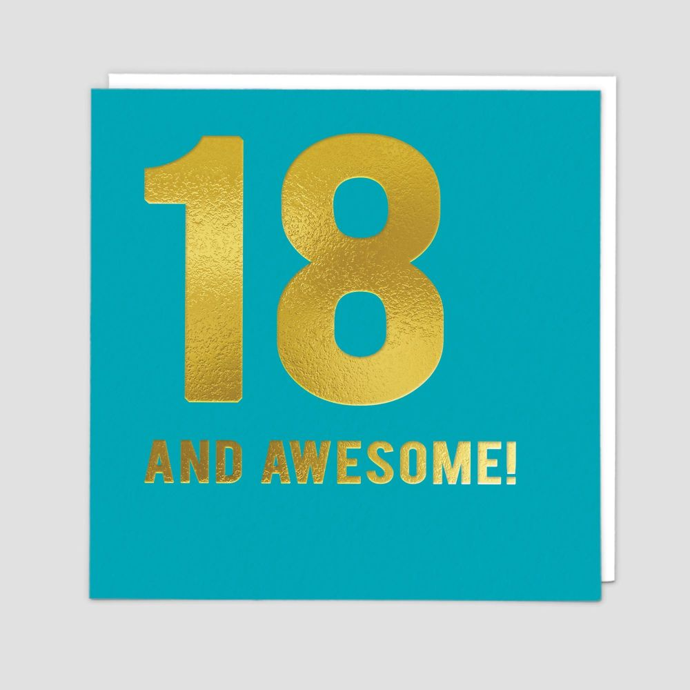 18th Birthday Cards - 18 AND AWESOME - 18th - Birthday CARDS - 18th BIRTHDA