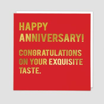 Funny Wedding Anniversary Cards - CONGRATULATIONS On Your EXQUISITE Taste - Wedding ANNIVERSARY Cards - Anniversary CARD For HUSBAND - Wife