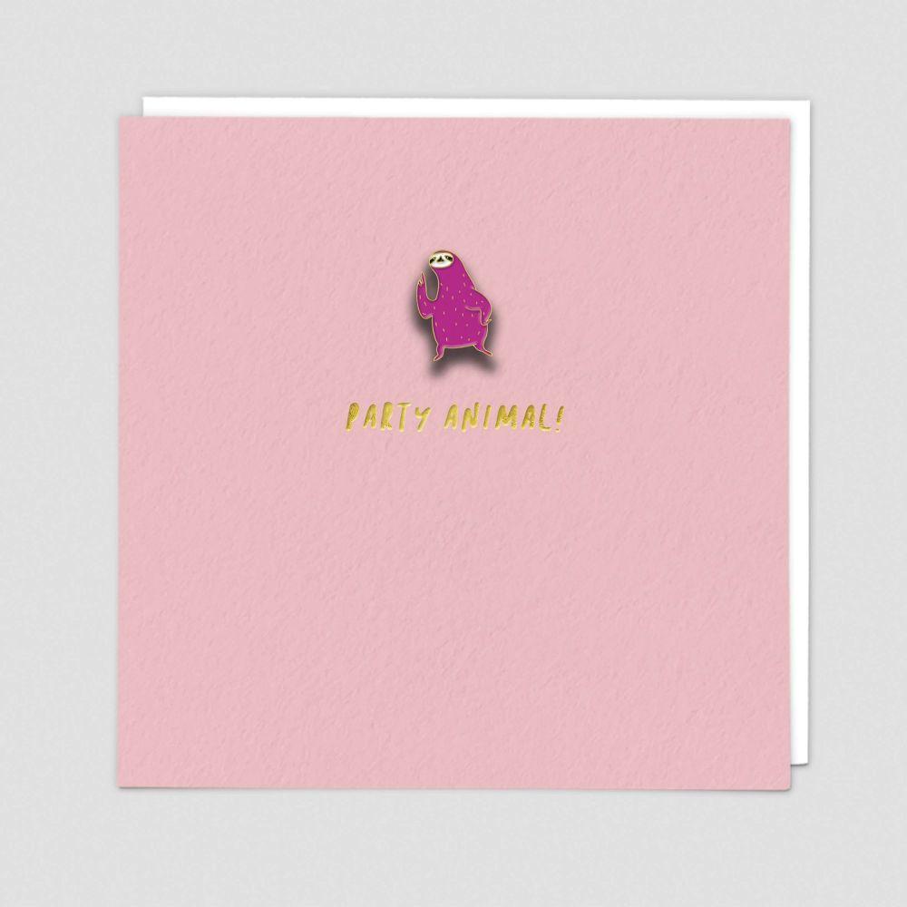 Party Animal Card - PARTY ANIMAL - Enamel PIN Greeting CARD - Party ANIMAL