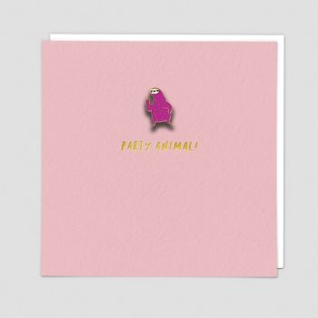 Party Animal Card - PARTY ANIMAL - Enamel PIN Greeting CARD - Party ANIMAL Birthday CARD - Fun BIRTHDAY Card FOR Friend - BESTIE - Cousin