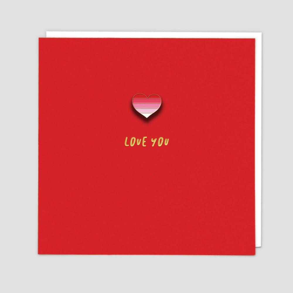 Love Cards - Romantic CARDS - Love YOU - Enamel PIN Greeting CARD - Love BI
