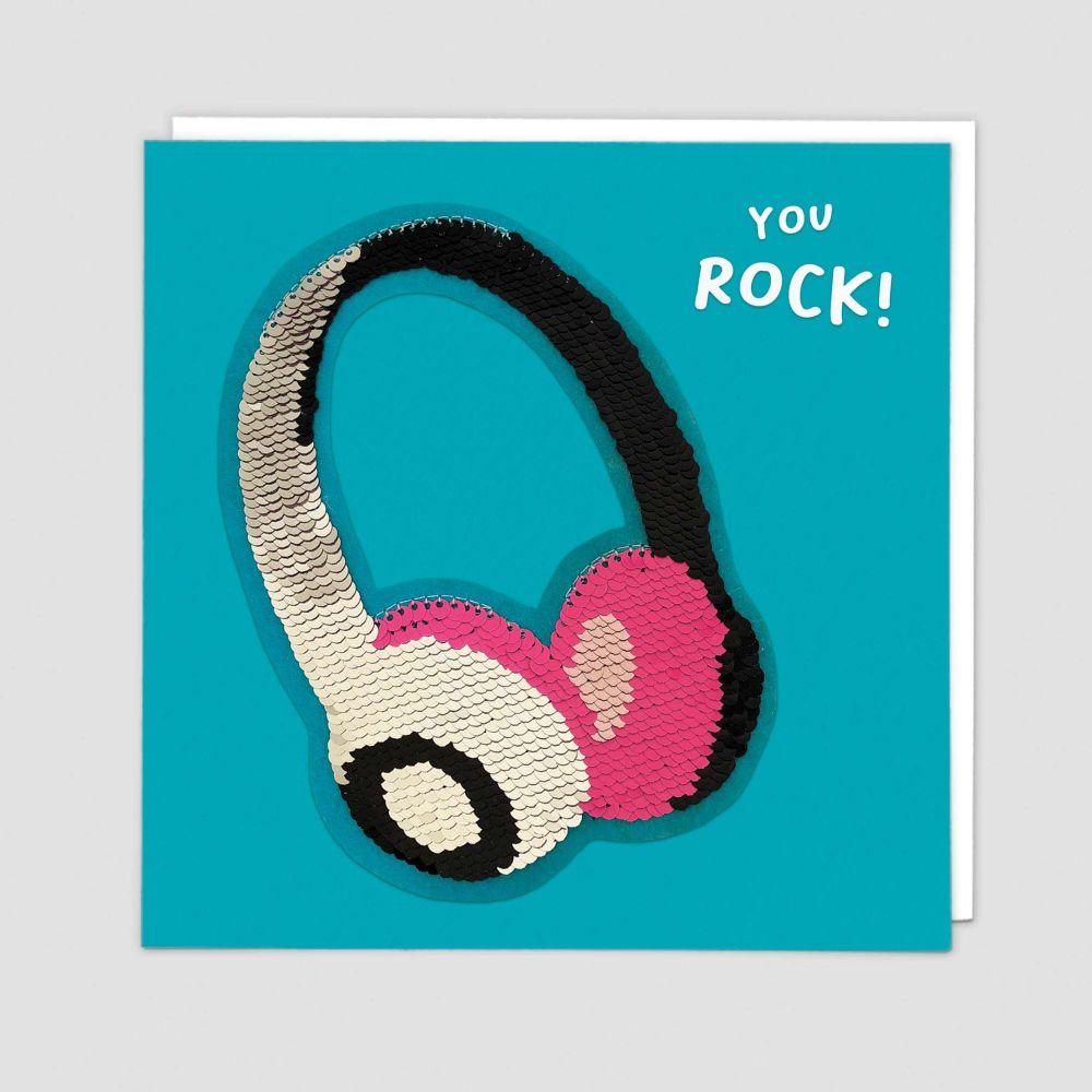 Retro Headphones Birthday Card - YOU ROCK - Sequin CARDS - Wireless HEADPHO