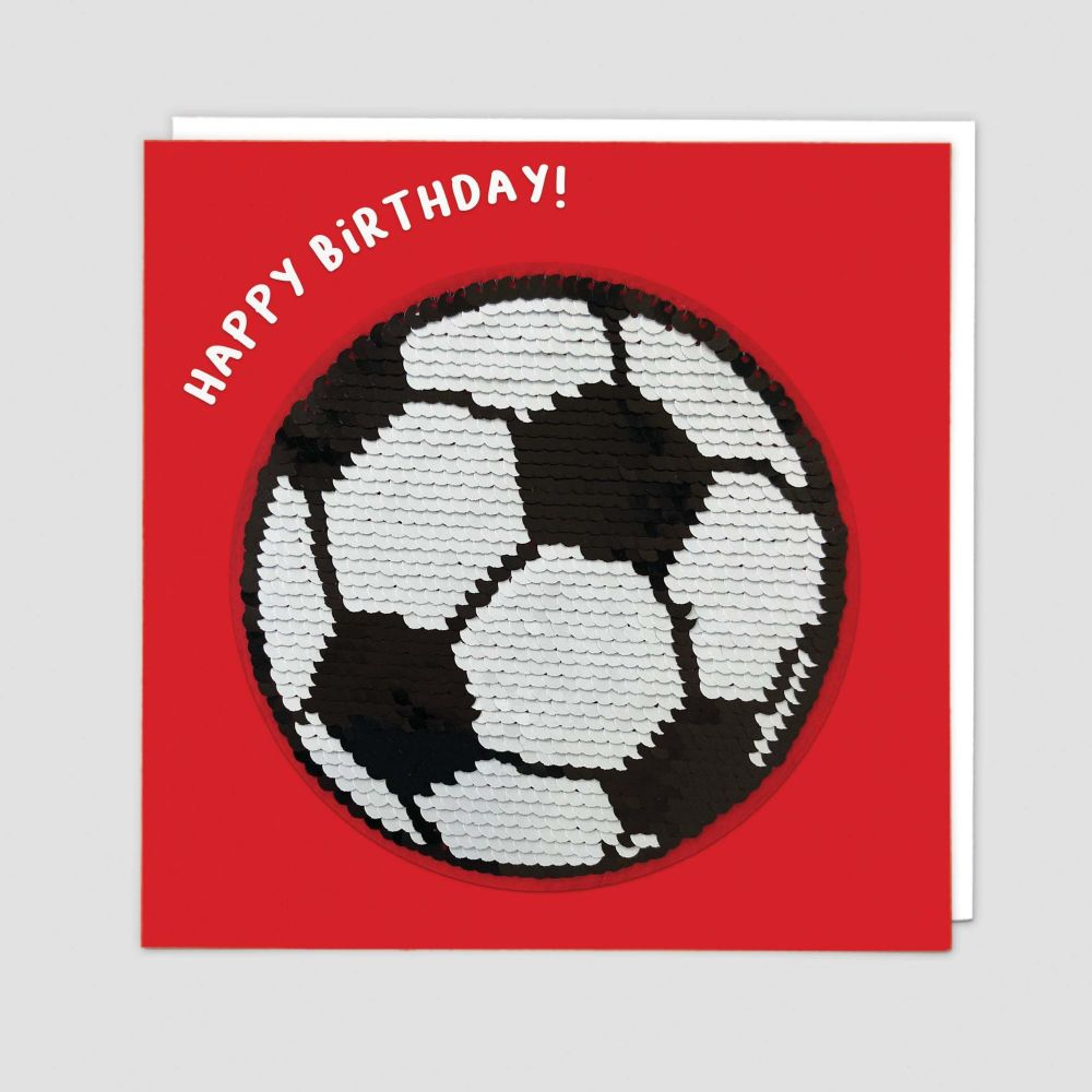 Football Birthday Cards - HAPPY BIRTHDAY - SEQUIN Cards - Sport BIRTHDAY Ca