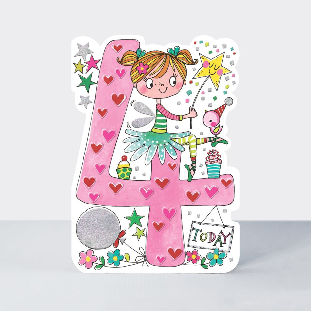 4th Birthday Card Girl - 4 TODAY - Fairy BIRTHDAY Card - CHILDREN'S Birthda