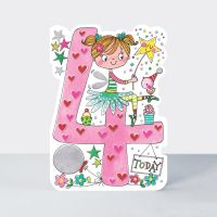 4th Birthday Card Girl - 4 TODAY - Fairy BIRTHDAY Card - CHILDREN'S Birthday CARDS - Pretty 4th BIRTHDAY Card For DAUGHTER - Granddaughter - NIECE