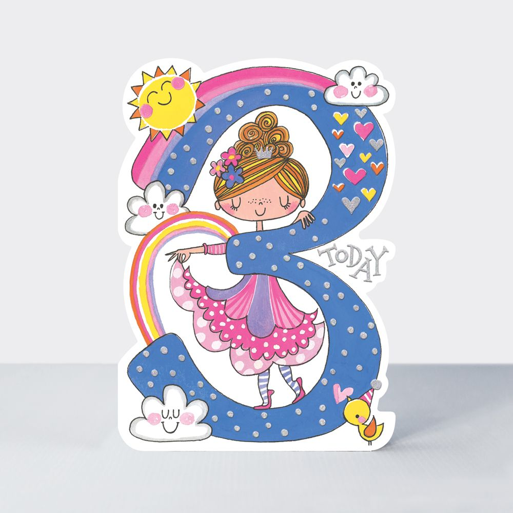 3rd Birthday Card Girl - 3rd BIRTHDAY - Princess BIRTHDAY Card - CHILDREN'S