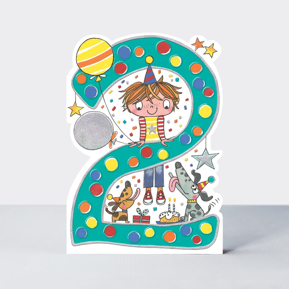 2nd Birthday Cards Boy - Cute BOY & Dogs BIRTHDAY Card - CHILDREN'S Birthda