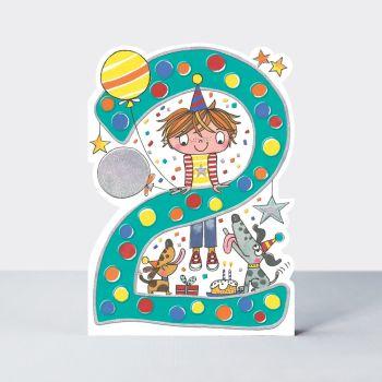2nd Birthday Cards Boy - Cute BOY & Dogs BIRTHDAY Card - CHILDREN'S Birthday CARDS - 2 YEAR Old BIRTHDAY Card For SON - Grandson