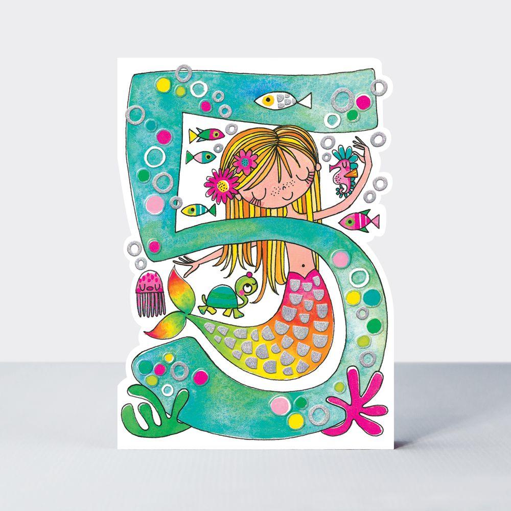 5th Birthday Cards Girl - MERMAID BIRTHDAY Card - CHILDREN'S Birthday CARDS