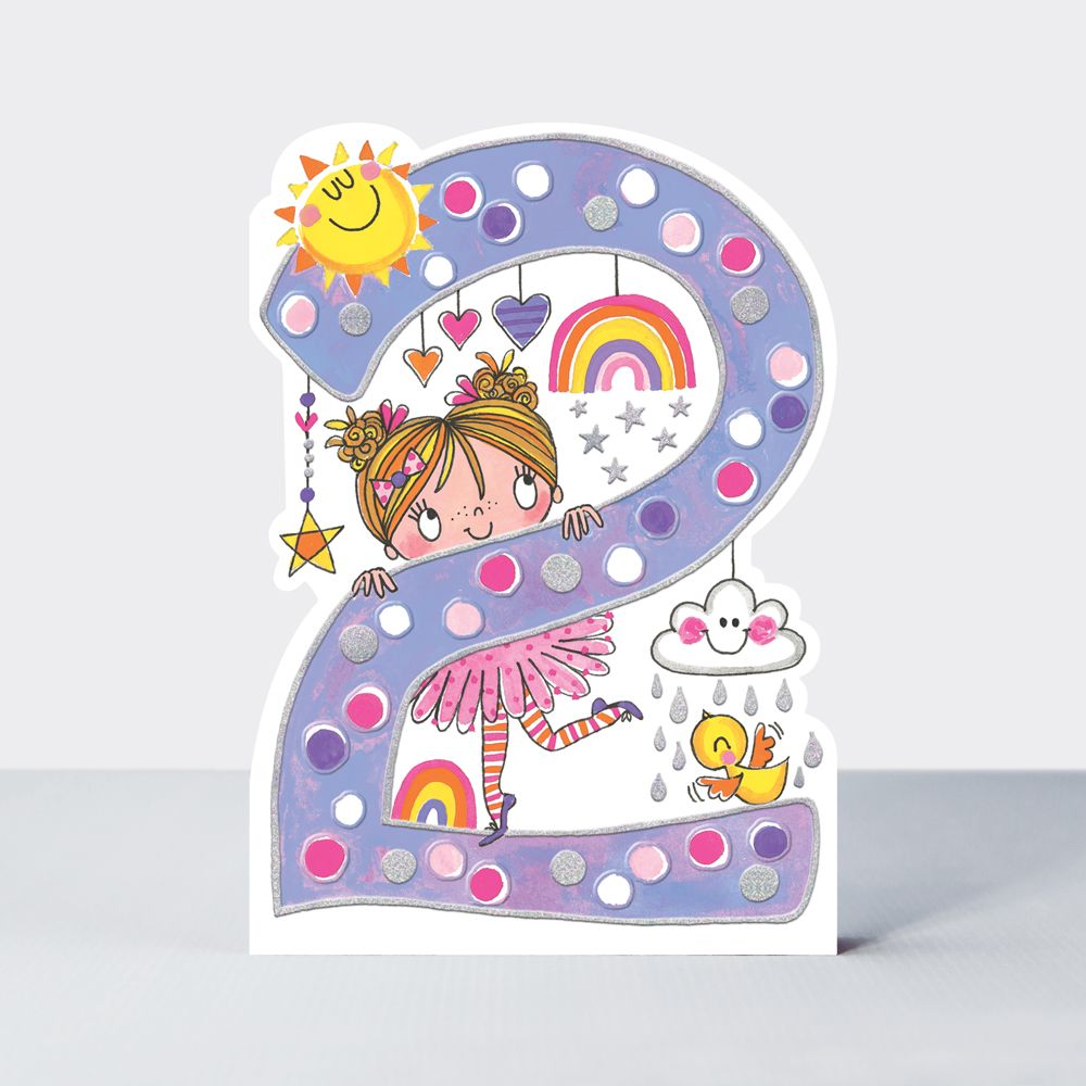 2nd Birthday Cards Girl - Pretty RAINBOW BIRTHDAY Card - CHILDREN'S Birthda