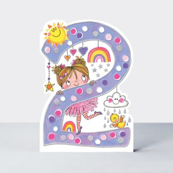 2nd Birthday Cards Girl - Pretty RAINBOW BIRTHDAY Card - CHILDREN'S Birthday CARDS - 2 YEAR Old BIRTHDAY Card For DAUGHTER - Granddaughter