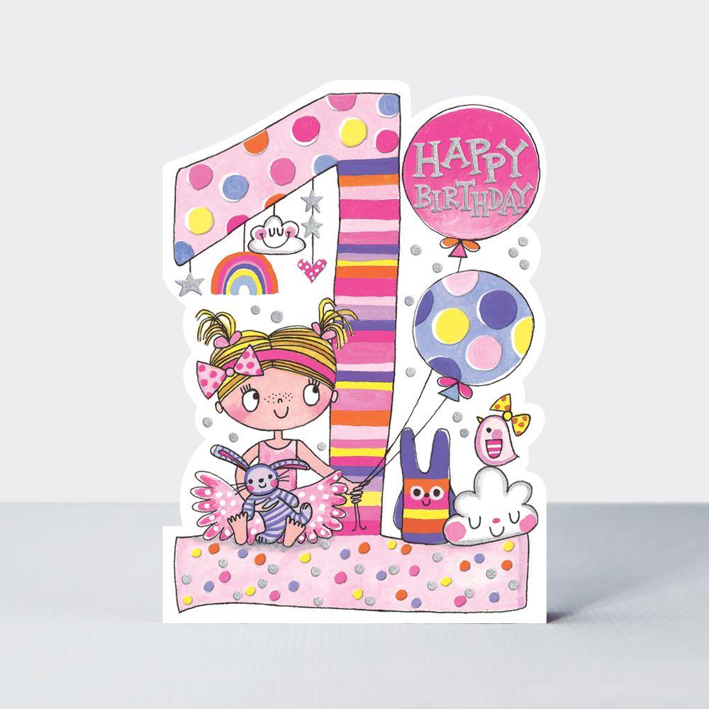 1st Birthday Cards Girl - Cute GIRL & Toys BIRTHDAY Card - CHILDREN'S Birth