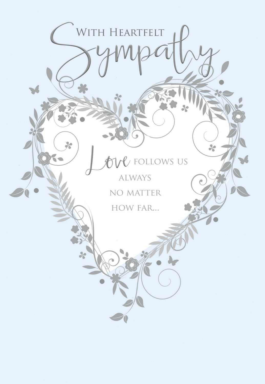 Pale Blue & Silver Sympathy Card - With HEARTFELT Wishes - CONDOLENCE & Sym