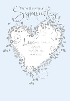 Pale Blue & Silver Sympathy Card - With HEARTFELT Wishes - CONDOLENCE & Sympathy CARDS - Sympathy GREETING Cards - HEARTFELT Sympathy CARDS