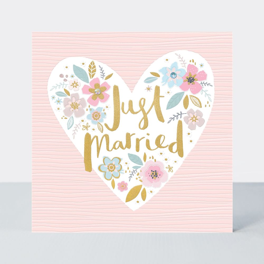 Just Married Card - WEDDING Cards - PRETTY Floral HEART Wedding DAY Cards -