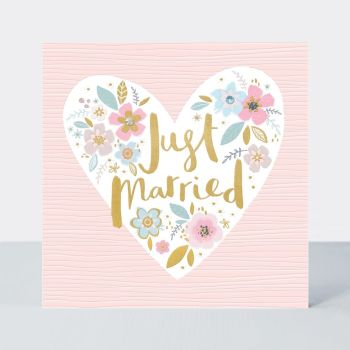 Just Married Card - WEDDING Cards - PRETTY Floral HEART Wedding DAY Cards - EMBELLISHED Wedding DAY Cards - Wedding Cards