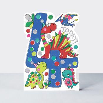 4th Birthday Cards Boy - DINOSAUR BIRTHDAY Cards - CHILDREN'S Birthday CARDS - 4th BIRTHDAY Card For  SON - Grandson - NEPHEW - Stepson