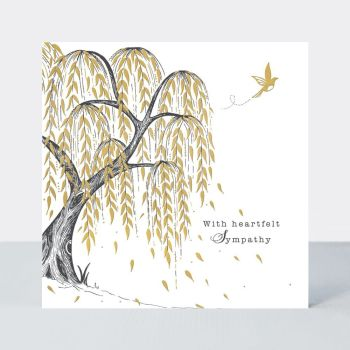 Willow Tree Sympathy Card - With HEARTFELT Sympathy - SYMPATHY & Condolence CARDS - Gold FOIL Sympathy CARD - Sympathy GREETING Cards