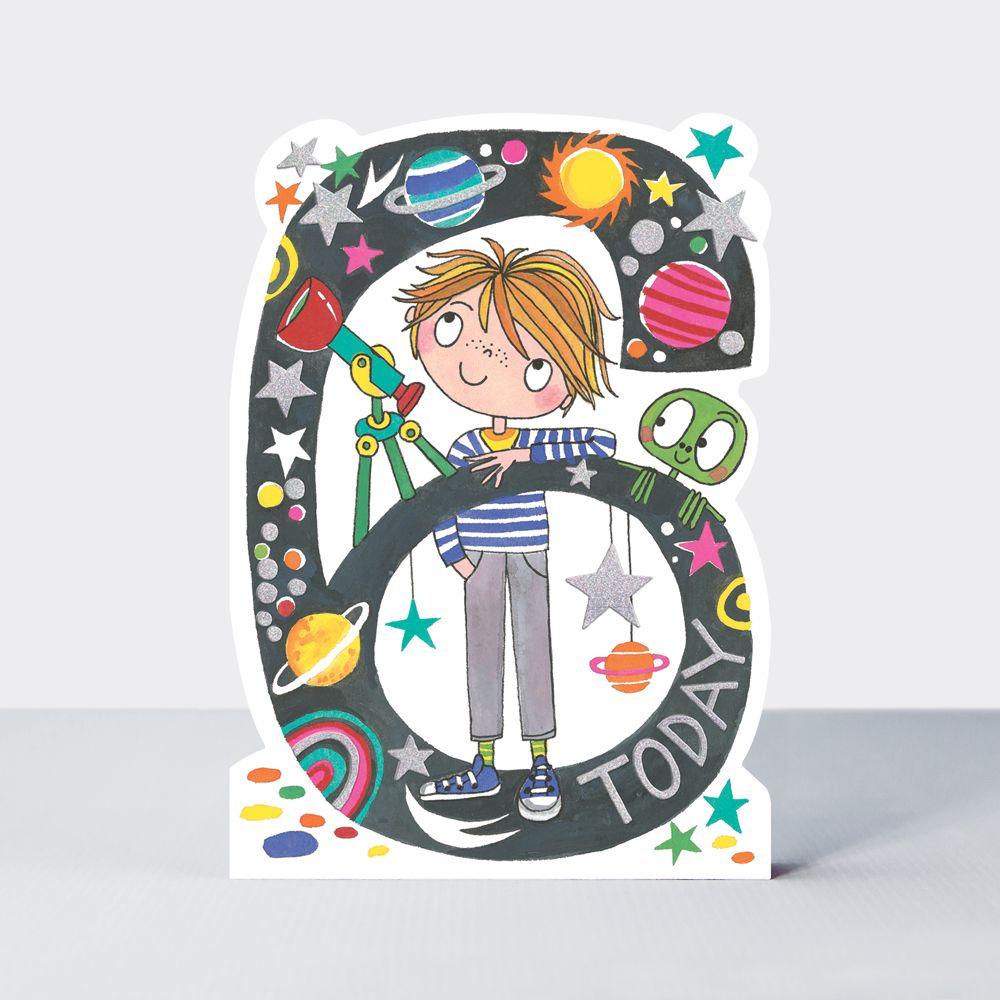 6th Birthday Cards Boy - 6 TODAY - Astonomy GREETING Cards - CHILDRENS Birt