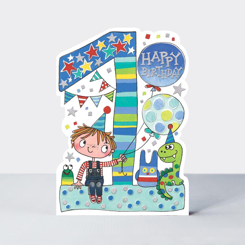1st Birthday Cards Boy - Cute BOY & Toys BIRTHDAY Card - CHILDREN'S Birthda