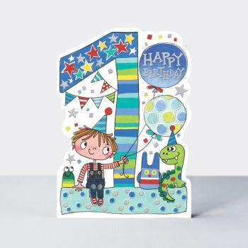 1st Birthday Cards Boy - Cute BOY & Toys BIRTHDAY Card - CHILDREN'S Birthday CARDS - 1st BIRTHDAY Card For  SON - Grandson - NEPHEW - Brother