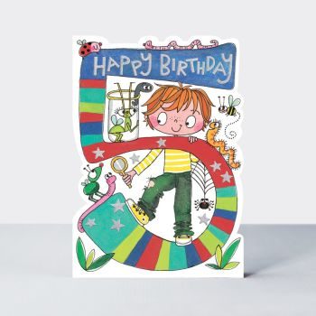 5th Birthday Cards Boy - BUGS BIRTHDAY Cards - CHILDREN'S Birthday CARDS - 5th BIRTHDAY Card For  SON - Grandson - NEPHEW - Great GRANDSON