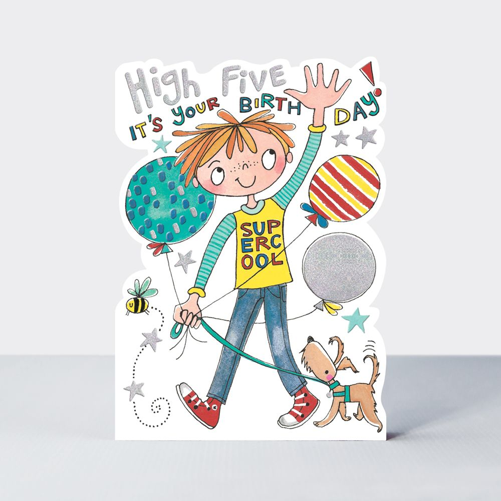 Boys Birthday Cards - High FIVE It's Your BIRTHDAY - Cute BOY With DOG & Ba