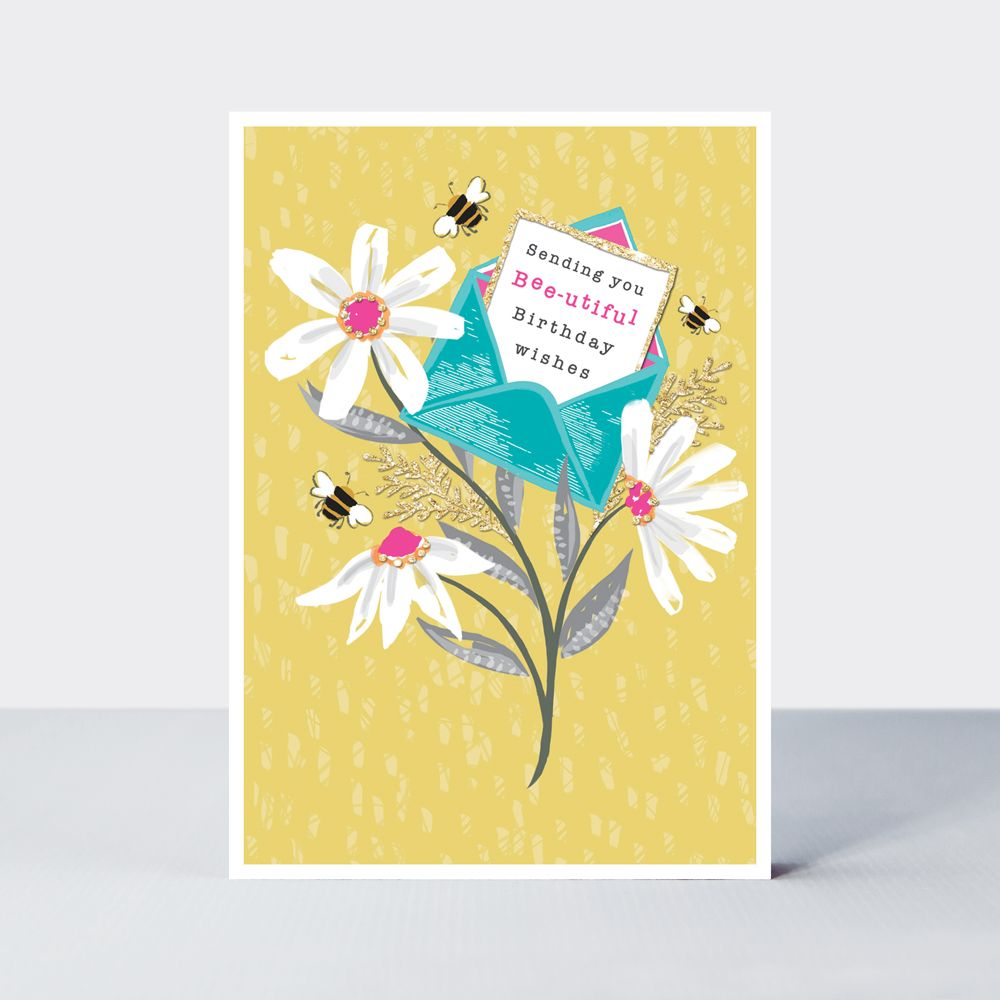 Pretty Daisies & Bees Birthday Card - SENDING You BEAUTIFUL Birthday WISHES