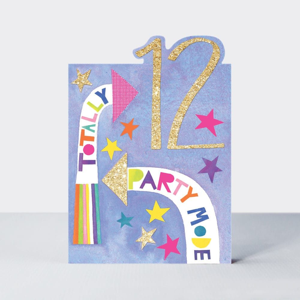 12th Birthday Cards Girl - 12 TOTALLY Party MODE - 12th BIRTHDAY Cards - 12