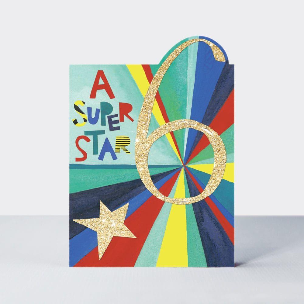 6th Birthday Cards Boy - 6 A SUPER Star - 6th BIRTHDAY Cards - 6th BIRTHDAY